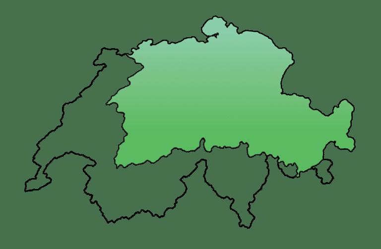 Map of the german speaking part of Switzerland